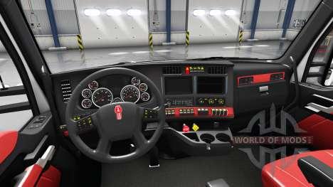 Red interior Kenworth T680 for American Truck Simulator