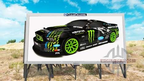 Monster Energy advertising on billboards for American Truck Simulator