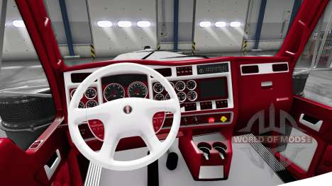 The red-and-white interior Kenworth W900 for American Truck Simulator