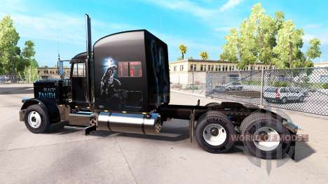 Black Panther skin for the truck Peterbilt 389 for American Truck Simulator