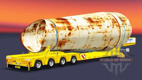 Low-frame trawl with a load of rusty pipes for Euro Truck Simulator 2