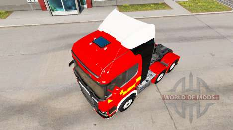 Skin for Fire Truck tractor Scania R730 for American Truck Simulator