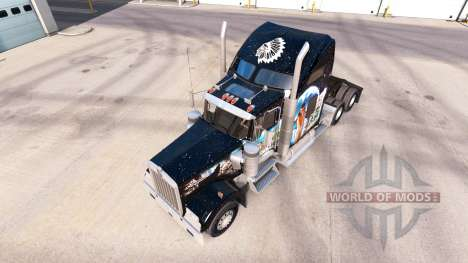 Skin Indian on the truck Kenworth W900 for American Truck Simulator