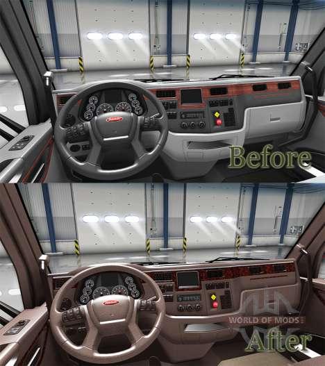Luxury brown interior Peterbilt 579 for American Truck Simulator