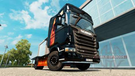 Skin Burning woman on tractor Scania for Euro Truck Simulator 2