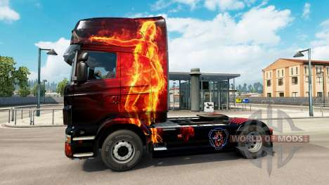 Fire Girl skin for Scania truck for Euro Truck Simulator 2
