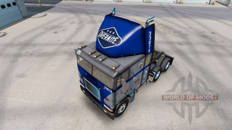 Skin Overnite on truck Freightliner FLB for American Truck Simulator