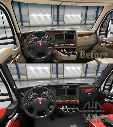 Red interior Kenworth T680 for American Truck Simulator