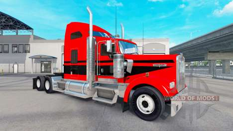 Skin Red-black stripes on the truck Kenworth W90 for American Truck Simulator