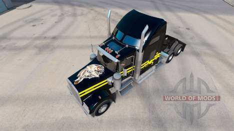 Skin Night on the truck Kenworth W900 for American Truck Simulator