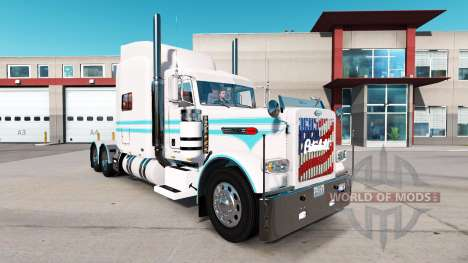 The Blue skin and white for the truck Peterbilt  for American Truck Simulator