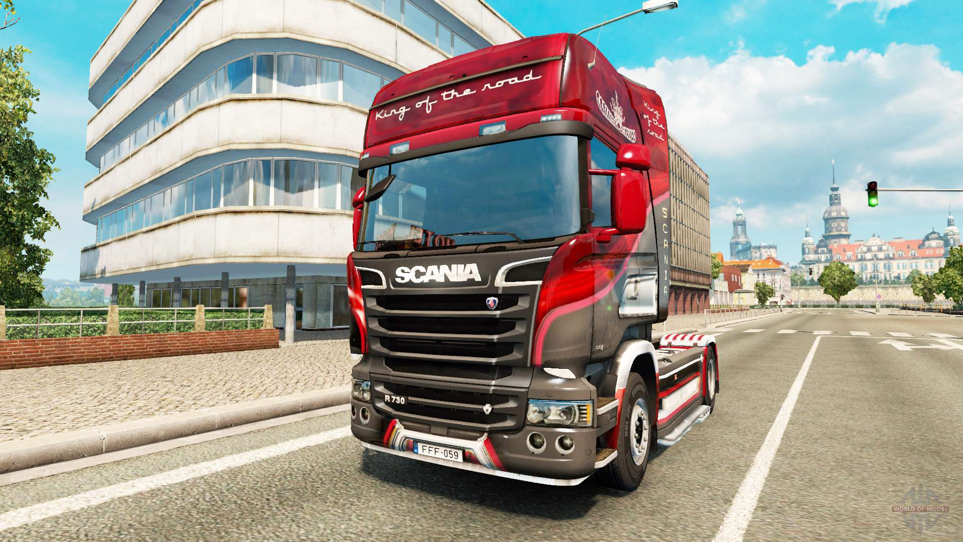 skin king of the road on the tractor scania for euro truck. Black Bedroom Furniture Sets. Home Design Ideas
