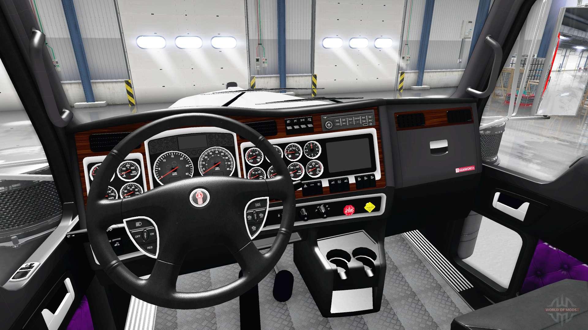 purple interior kenworth w900 for american truck simulator. Black Bedroom Furniture Sets. Home Design Ideas