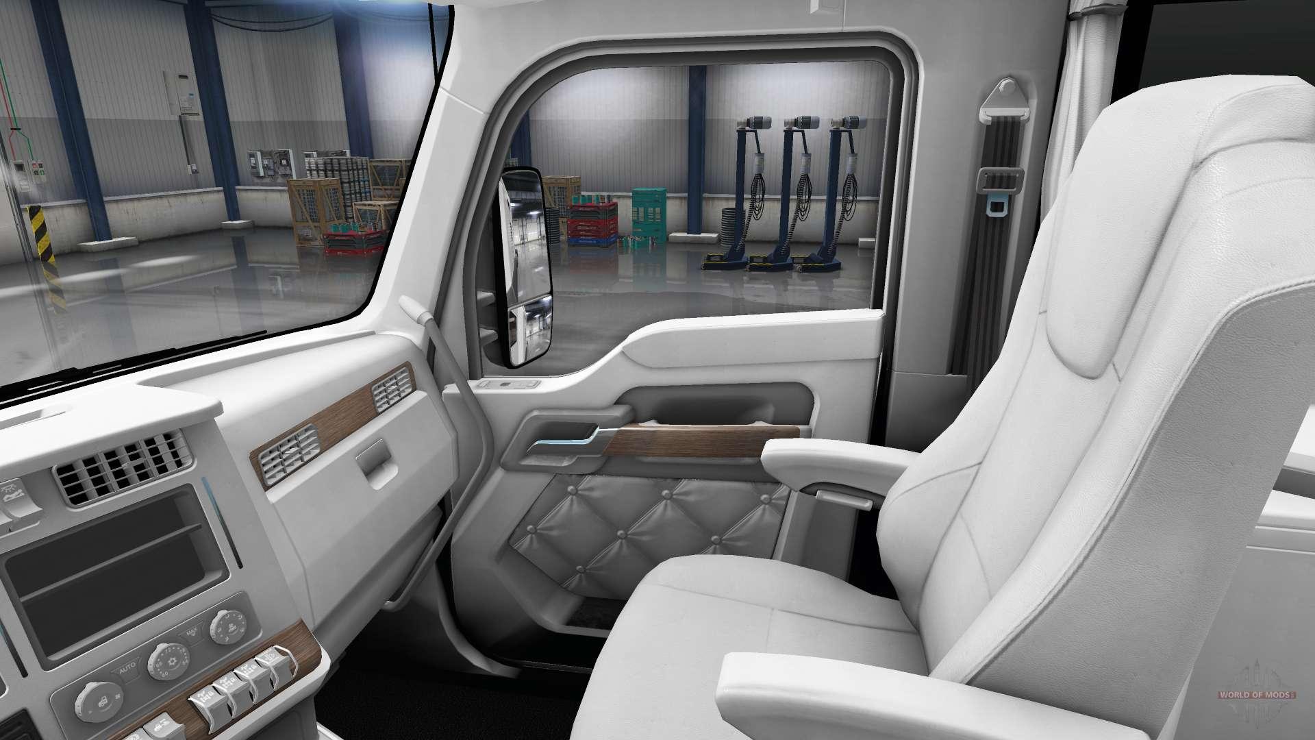 white kenworth t680 interior for american truck simulator. Black Bedroom Furniture Sets. Home Design Ideas