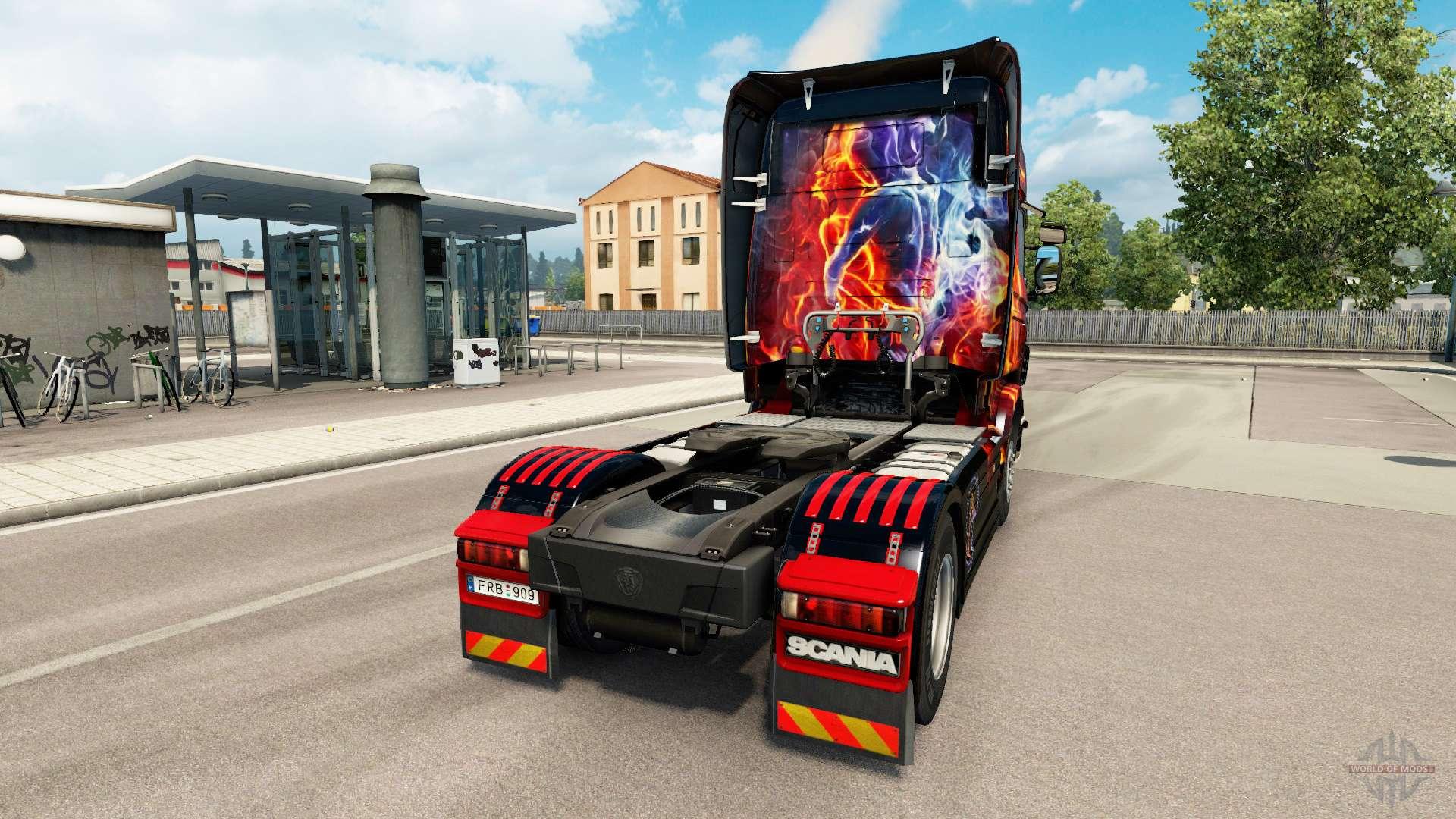 GIRL IN BLACK SKIN FOR SCANIA MOD - Euro Truck Simulator 2