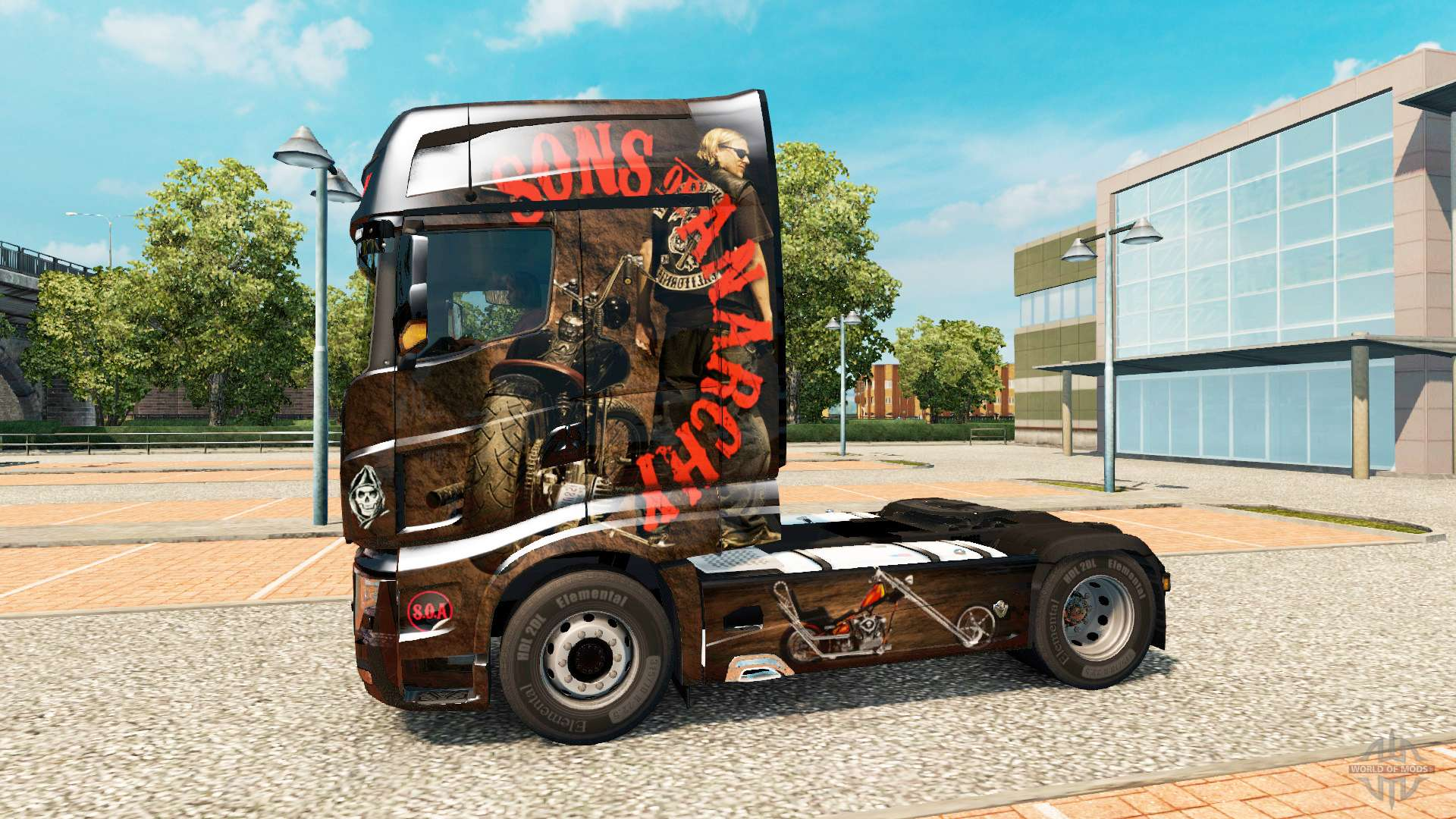 Tractor Simulator 2 : Skin sons of anarchy on tractor scania r for euro truck
