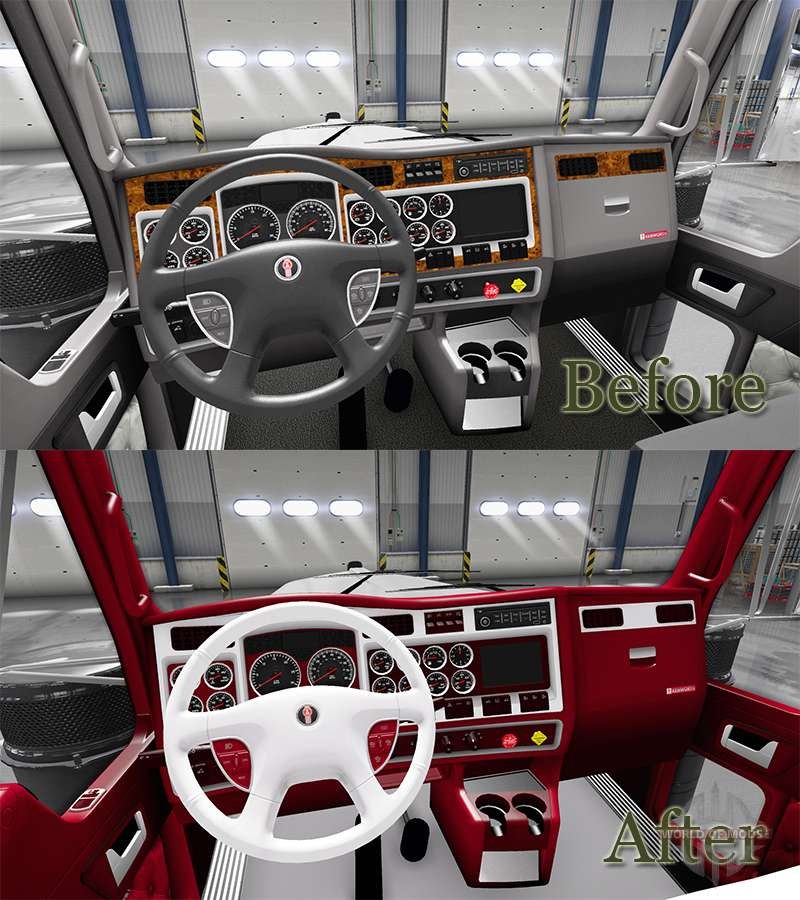 the red and white interior kenworth w900 for american truck simulator. Black Bedroom Furniture Sets. Home Design Ideas