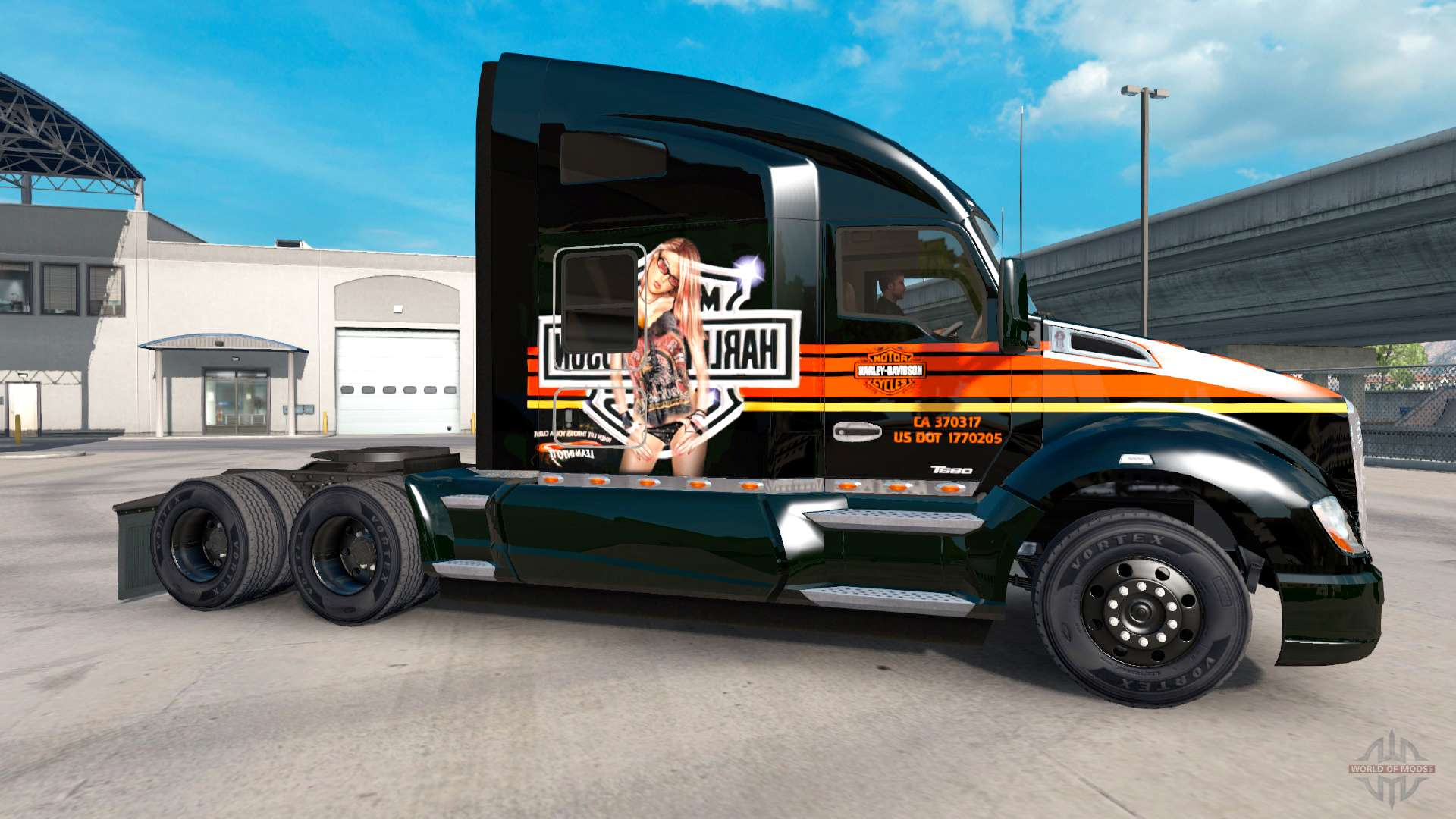 skin harley davidson on a kenworth tractor for american truck simulator. Black Bedroom Furniture Sets. Home Design Ideas