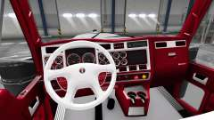 The red-and-white interior Kenworth W900