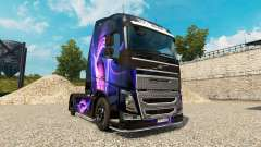 Skin Black & Purple on a Volvo truck for Euro Truck Simulator 2