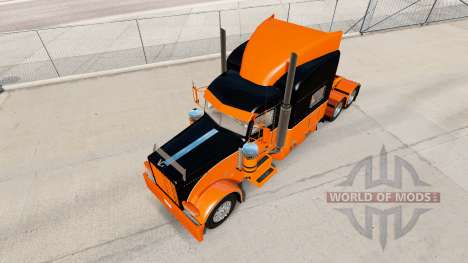 The Black and Orange skin for the truck Peterbil for American Truck Simulator