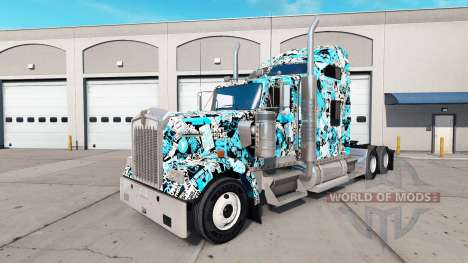 Stickerbomb skin for the Kenworth W900 tractor for American Truck Simulator