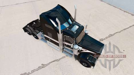 Skin Black and White on the truck Kenworth W900 for American Truck Simulator