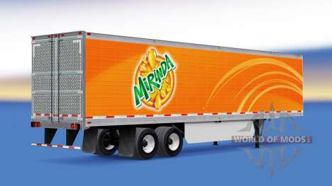 Mirinda skin on the reefer trailer for American Truck Simulator