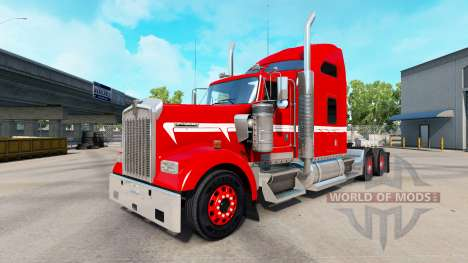 Skin Red with White Stripe on the truck Kenworth for American Truck Simulator