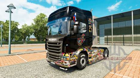 Skin Sticker Bomb Scania on truck for Euro Truck Simulator 2