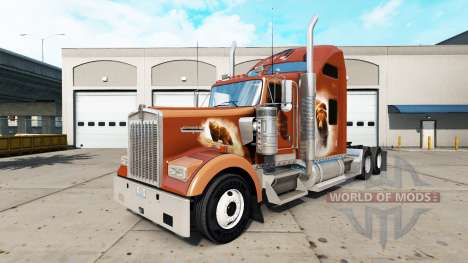 Skin The Bears Den on the truck Kenworth W900 for American Truck Simulator