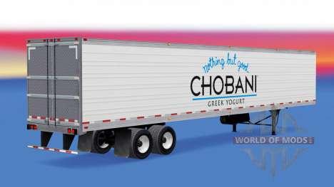 Chobani skin on the reefer trailer for American Truck Simulator