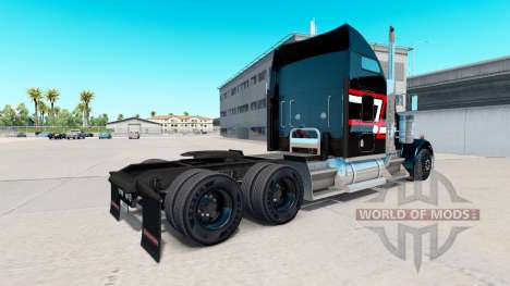 Skin Red-white stripes on the truck Kenworth W90 for American Truck Simulator