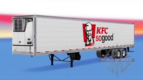 The skin on KFC reefer semi-trailer for American Truck Simulator