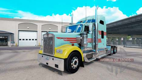 Skin Z Stripe Multicolor truck Kenworth W900 for American Truck Simulator