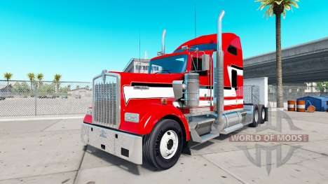 Skin Red and White on the truck Kenworth W900 for American Truck Simulator