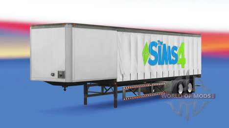 Skin The Sims 4 on a curtain semi-trailer for American Truck Simulator