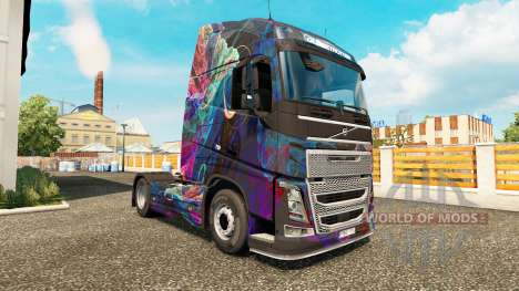 The Fractal Flame skin for Volvo truck for Euro Truck Simulator 2