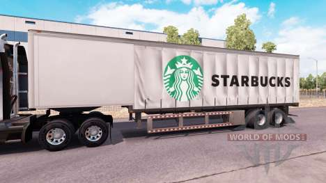 Curtain semitrailer Starbucks for American Truck Simulator