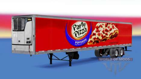 Refrigerated semi-trailer Party Pizza for American Truck Simulator