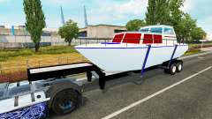 The trailer with the boat