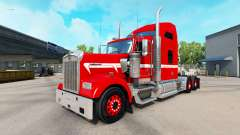 Skin Red with White Stripe on the truck Kenworth