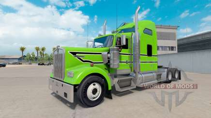 Skin Black-white stripes on the truck Kenworth W900 for American Truck Simulator