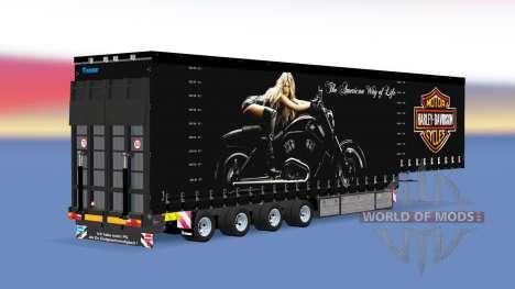 Four-axle curtain semi-trailer v1.1.1 for American Truck Simulator