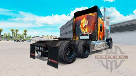 Skin Tigers In Flames on the truck Kenworth W900 for American Truck Simulator