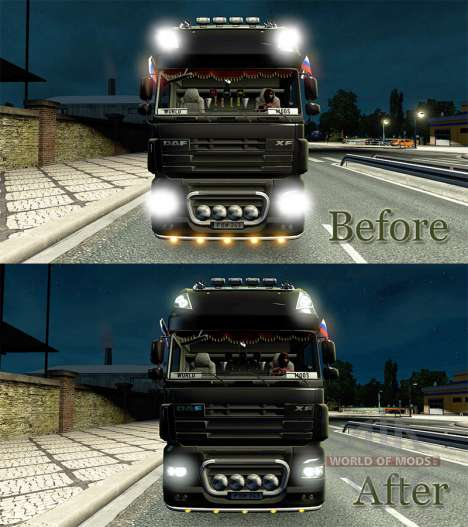 The effect of the lights v2.0 for Euro Truck Simulator 2