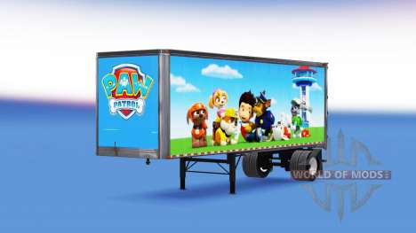 The skin of the Paw Patrol on a trailer for American Truck Simulator
