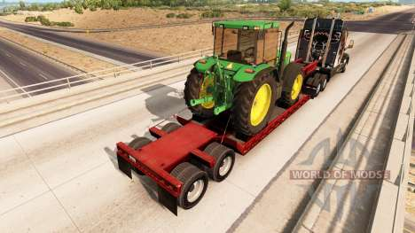 Low sweep with a cargo of tractor John Deere for American Truck Simulator