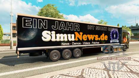 Skin SimuNews on the trailer for Euro Truck Simulator 2