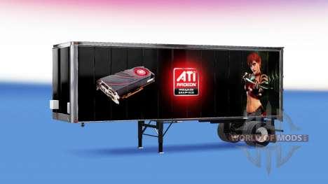 Skins ATi Radeon & Nvidia GeForce on the trailer for American Truck Simulator